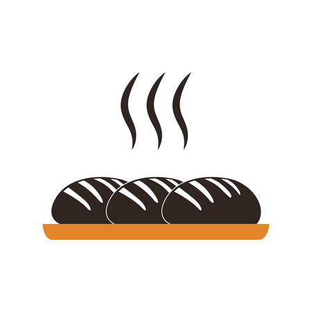 bun: baked bread warm colored icon vector illustration