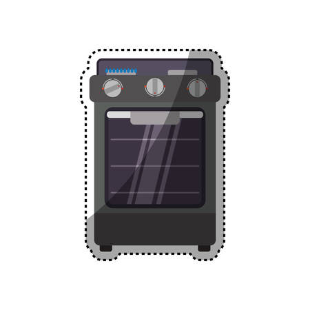 gas stove: stove household appliance icon vector illustration graphic design Illustration
