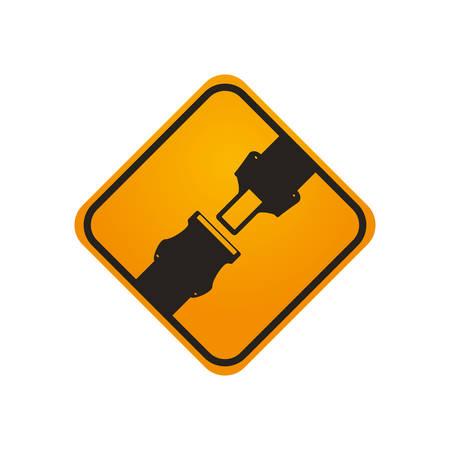 traffic sign warning security belt vector icon illustration Illustration