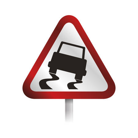 caution sign slippery ground vector icon illustration Illustration
