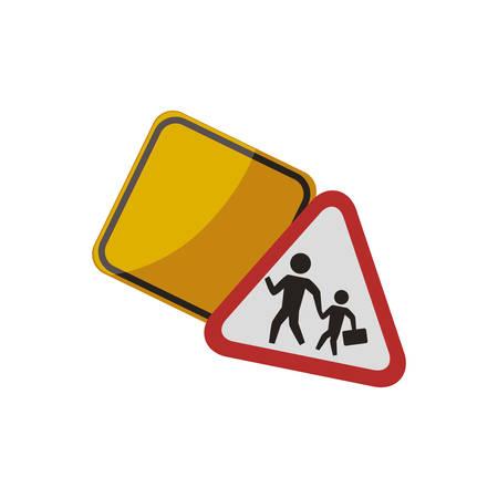 advertencia, señal, tráfico, precaución, vector, icono, ilustración Vectores