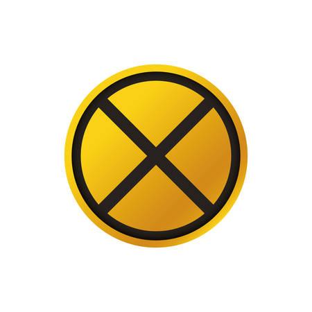 sign caution train crossing vector icon illustration