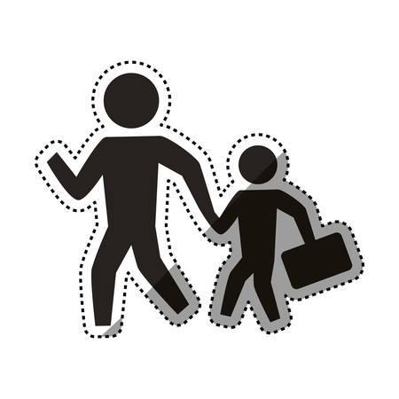 people crossing walking vector icon illustration pictogram