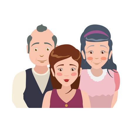 elder parents and daughter vector icon illustration Illustration