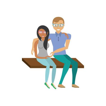 pareja romántica sentado en la ilustración de vector de banco eps 10