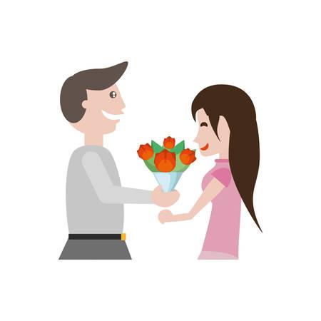 couple romantic beauty flowers image vector illustration eps 10
