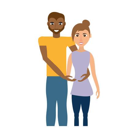 mltiethmic couple romantic image vector illustration eps 10 Illustration