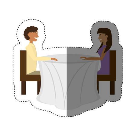 pareja sentada romántica que data sombra ilustración vectorial eps 10