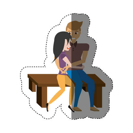 affairs: couple love embracing sitting in bench shadow vector illustration eps 10