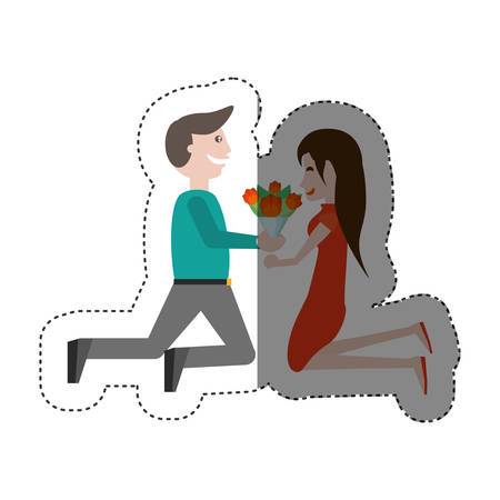 kneeling couple love with flowers shadow vector illustration eps 10 Illustration