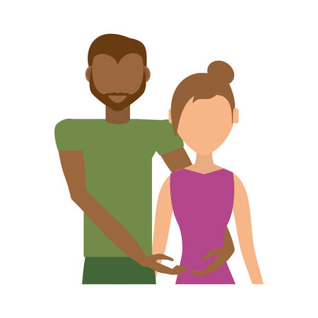 couple romantic mixed - race together vector illustration eps 10 Иллюстрация