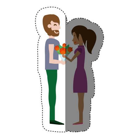 couple romantic bouquet flowers shadow vector illustration eps 10 Illustration