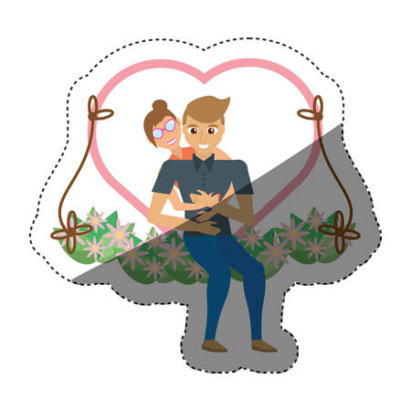 couple love embracing swing shadow vector illustration eps 10