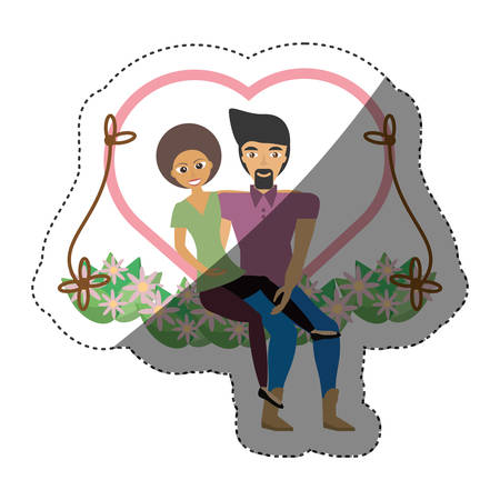 beautiful men: couple love together in swing shadow vector illustration eps 10