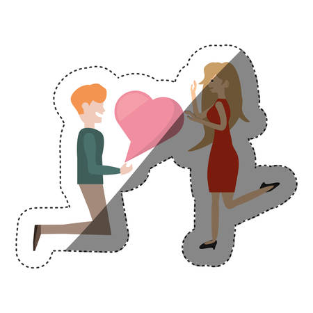 couple romantic proposal heart shadow vector illustration eps 10