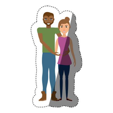 couple romantic lifestyle shadow vector illustration eps 10 Illustration