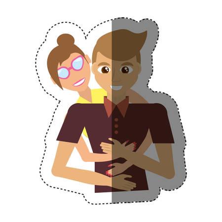 loving couple hugging together shadow vector illustration eps 10