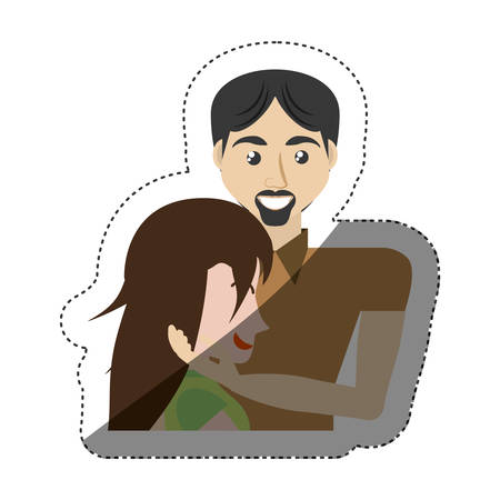 fondle: man caress woman romance shadow vector illustration eps 10 Illustration