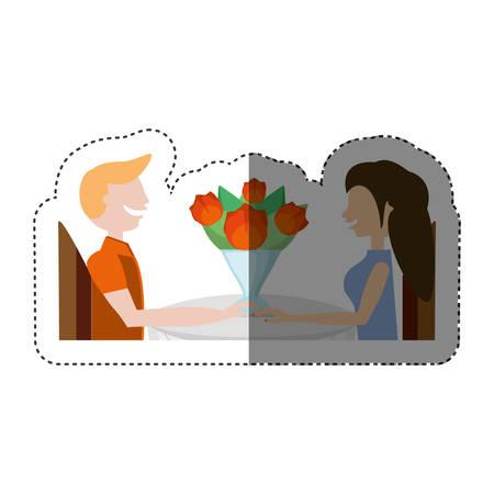 cuddling: loving couple sitting date romance shadow vector illustration eps 10 Illustration