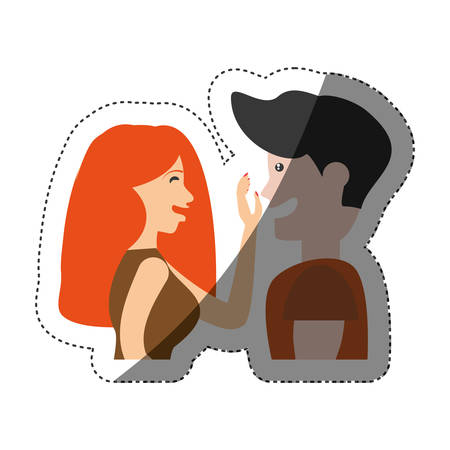 fondle: couple caressing romantic shadow vector illustration eps 10