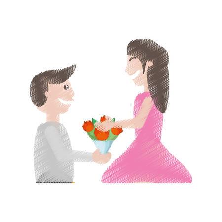 companionship: drawing man proposal woman flowers vector illustration eps 10 Illustration