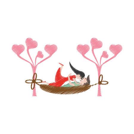 drawing couple lying down hammock vector illustration eps 10