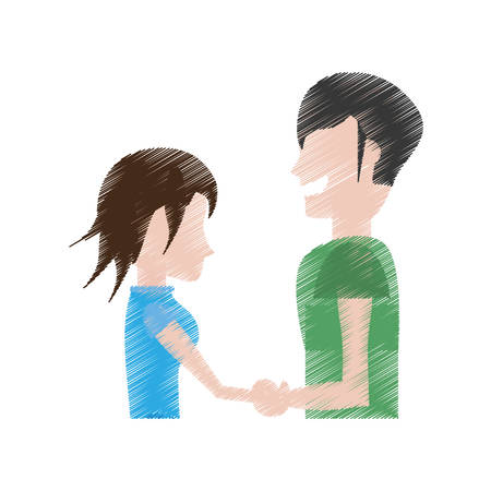 drawing man and woman relation happy vector illustration eps 10