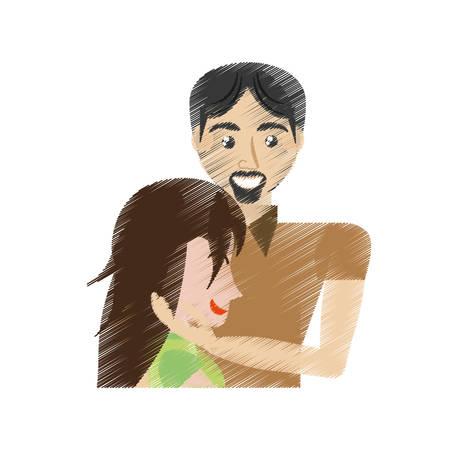 drawing man caress woman romance vector illustration eps 10