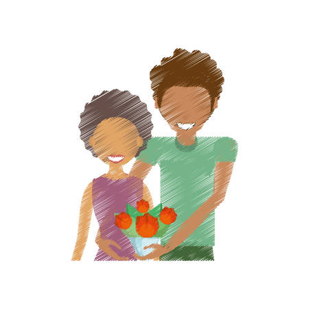 drawing couple smiling with bouquet vector illustration eps 10 Illustration