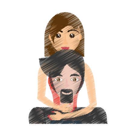 drawing woman embracing man realtionship vector illustration eps 10