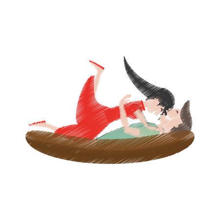 drawing couple lying down romantic vector illustration eps 10