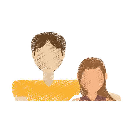 drawing couple relationship love vector illustration eps 10