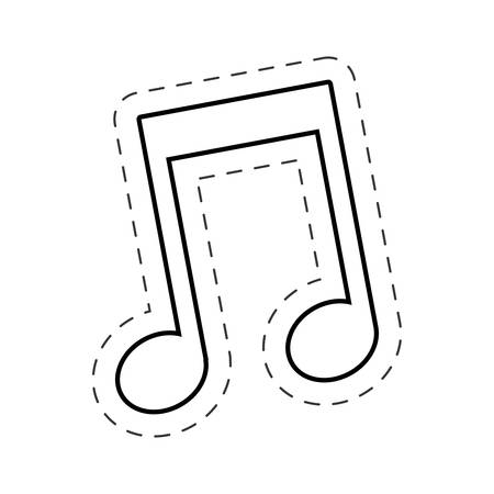 music note cut line vector
