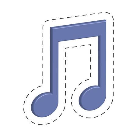 purple music note cut line vector