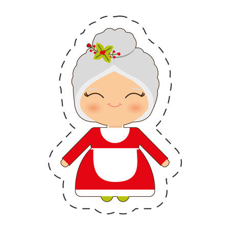 cute mrs. claus christmas cut line vector