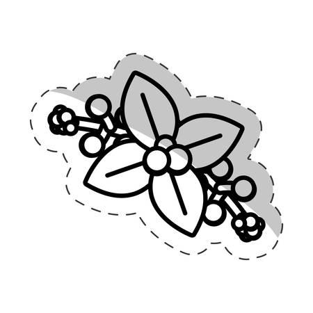 poinsettia flower christmas cut line vector
