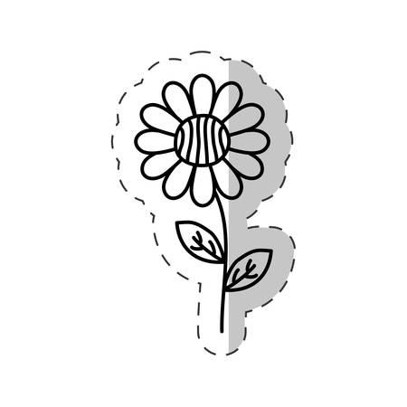 daisy flower decoration cut line vector Illustration