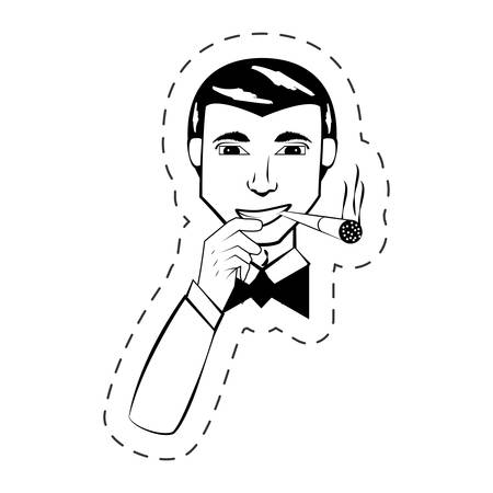 portrait man facial expression black and white vector illustration Illustration