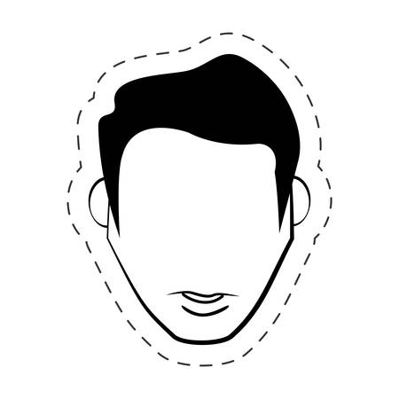 male faceless people black and white vector illustration