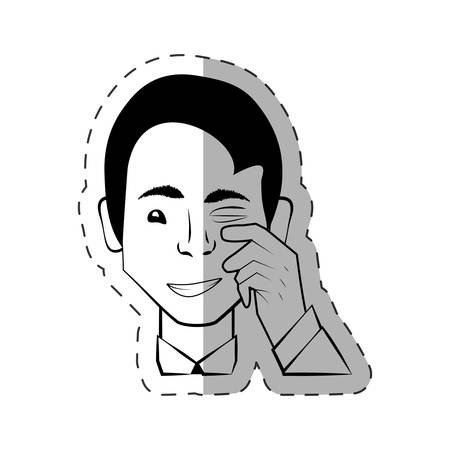 begging: male head look expession vector illustration eps 10