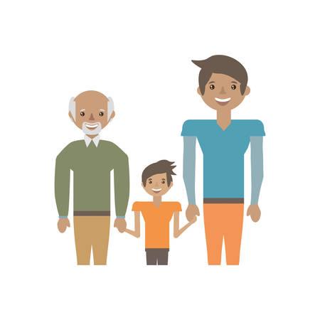 piggyback: Portrait people family happiness vector illustration eps 10.