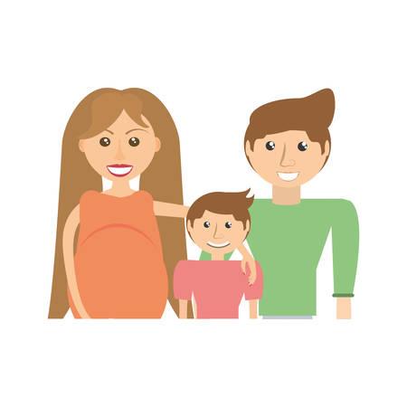 abdomen women: Family pregnancy couple image vector illustration eps 10.