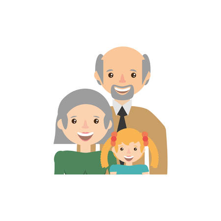 two generation family: Grandparents granddaughter family image vector illustration eps 10.