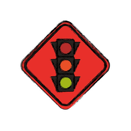 Semaphore traffic lights warning sign vector icon illustration.