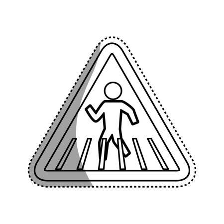 Caution sign crosswalking pedestrian vector icon illustration.