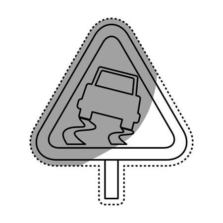 Caution sign slippery ground vector icon illustration.