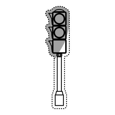 Semaphore traffic light post pedestrian vector icon illustration.