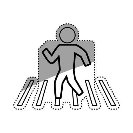 Man silhouette walking crosswalk vector icon illustration pictogram.