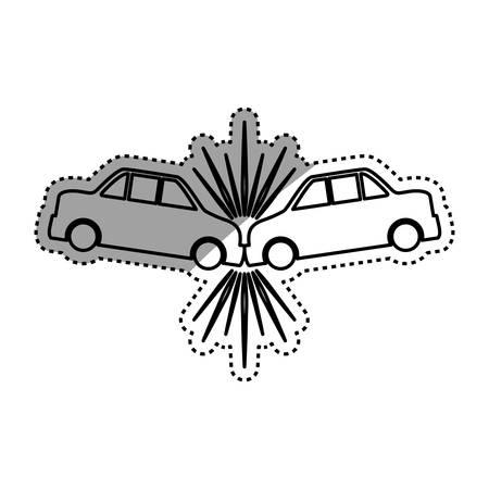 Cars crashing accident pictogram vector icon illustration. Illustration