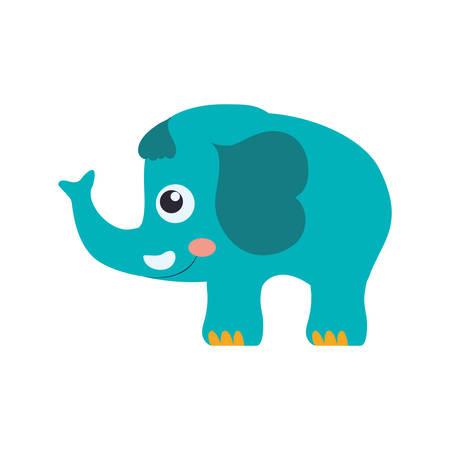 Elephant cartoon drawing childish vector icon illustration.